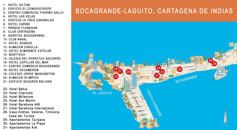 Barahona International Hotel Bocagrande In Cartagena De Indias - Cartagena de indias map